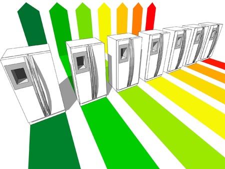 zeven koel kasten gecertificeerd voor zeven energetische klassen Stock Illustratie