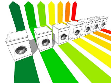 seven washing machines certified in seven energetic classes Vector