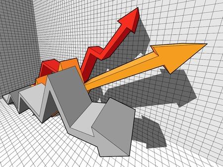 drie oplopende  stijgende diagram pijlen