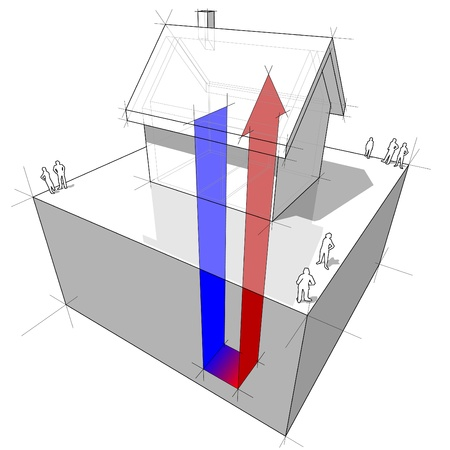 groundwater: geothermal heat pump diagram Illustration