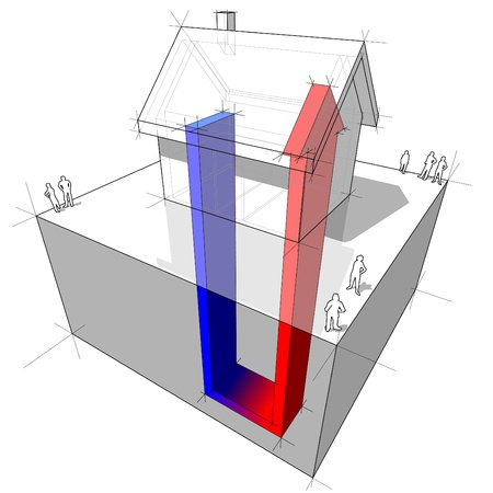 geothermal heat pump diagram Stock Vector - 9930076