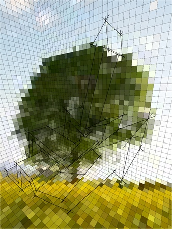 perspective grid: optical illusion matrix or landscape photography, or business diagram