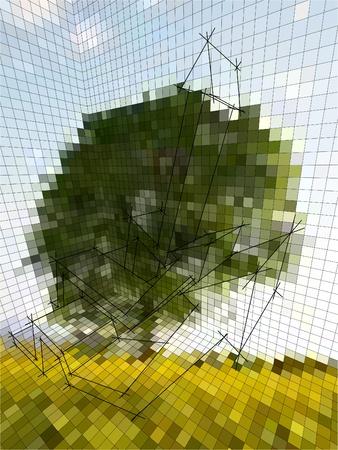 delusion: optical illusion matrix or landscape photography, or business diagram