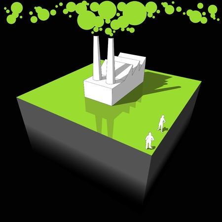 polluting: Industrial buildingfactory polluting air from its smokestacks Illustration