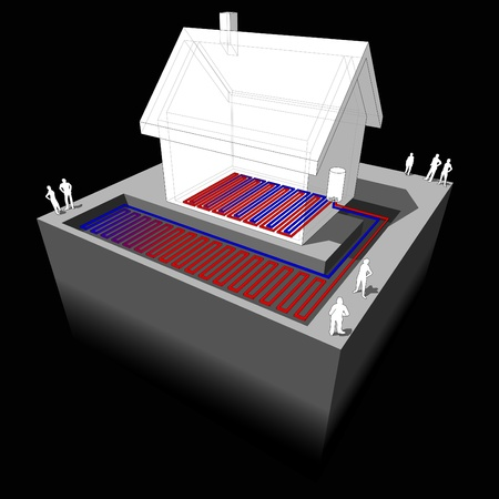 heat pumpunderfloorheating diagram  Vector