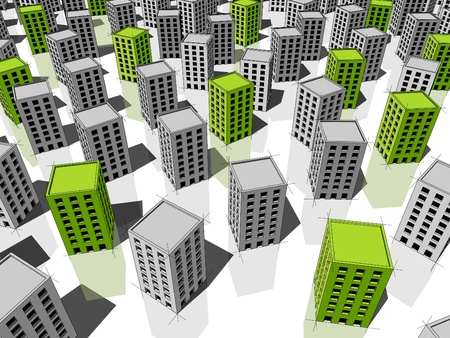 monotony: green ecological apartment housesoffice buildings standing out from others