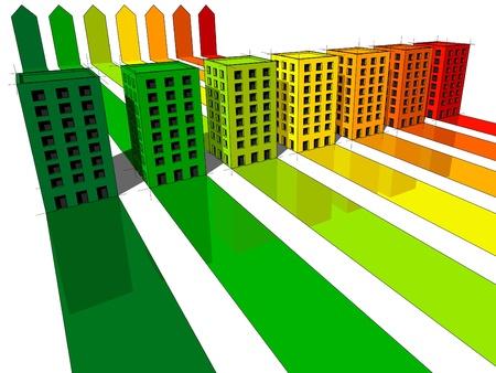 szigetelés: hét apartmanházak  irodaépületek tanúsított hét energetikai osztályba Illusztráció