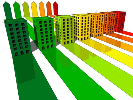 seven apartment houses/office buildings certified in seven energetic classes Stock Illustratie