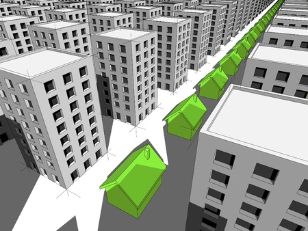 monotony: Row of green ecological houses surrounded by many blocks of flats