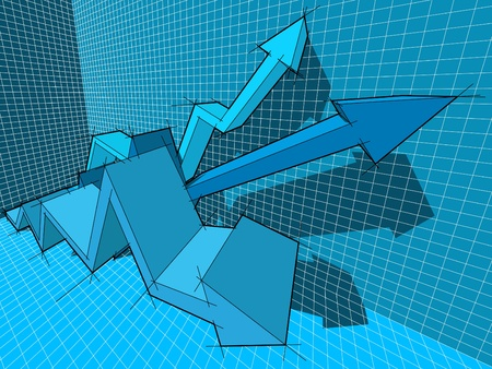 three ascendingrising arrows in business diagram  Vector