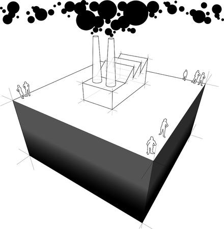 Industrieel gebouw / fabriek vervuilende lucht van de schoorstenen Stockfoto - 10756320