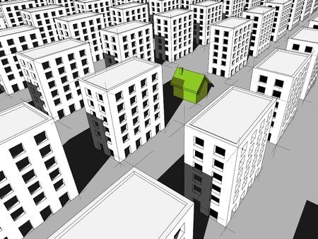 """surrounded: verde casa """"ecologica"""", circondato da molti blocchi di appartamenti"""