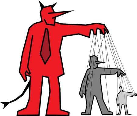 Businessman devil manipulating other people
