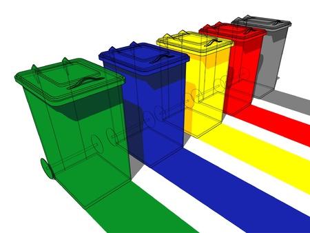 separacion de basura: Cinco latas de basura para la separación de la basura Vectores