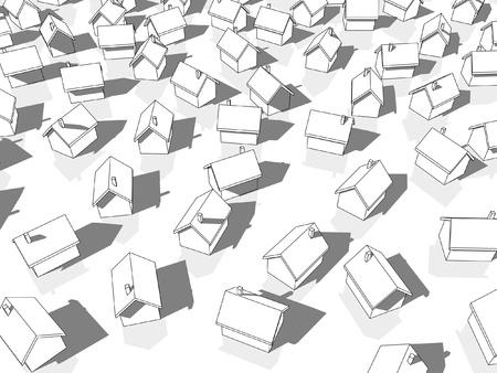monotony: white houses Illustration