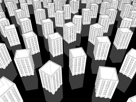 monotony: white buildings