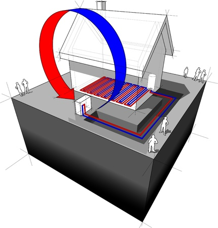 air source heat pump diagram air source heat pump combined with underfloor heating Vector
