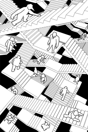 lost in space: lost and confused people running upwards and downwards a labyrinth of stairs