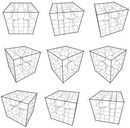 collection of abstract geometric design elements composed of cubes Ilustração