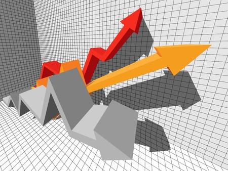 three ascending/rising arrows in business diagram