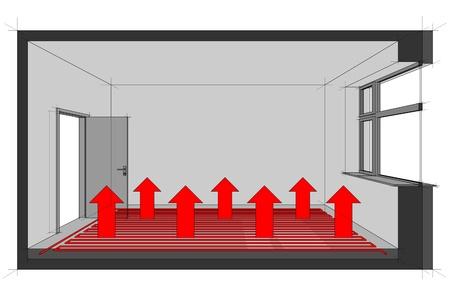 szigetelés: Diagram egy padló alatti fűtött szoba hőelosztáshoz