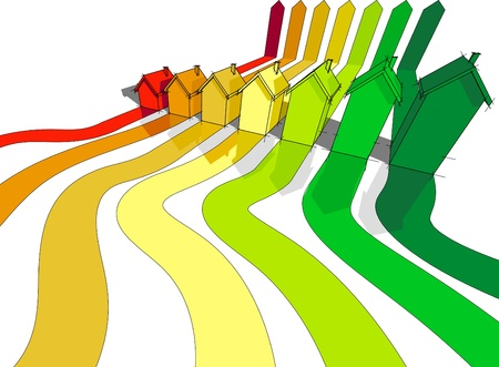 energy rating: seven houses certified in seven energetic classes Illustration