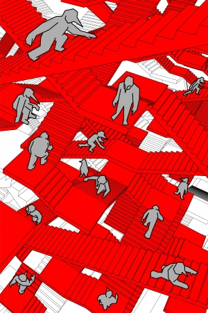 lost and confused people running upwards and downwards a labyrinth of stairs Vector