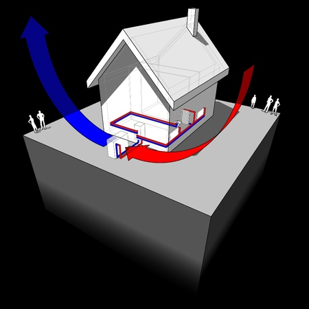 air source heat pump diagram Stock Vector - 13295084