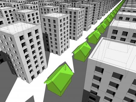 monotony: Row of green houses among many blocks of flats Illustration