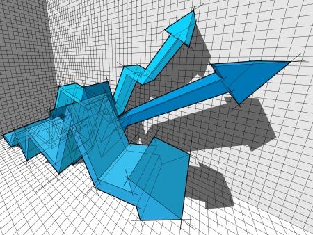 commision: three ascendingrising arrows in business diagram  Illustration