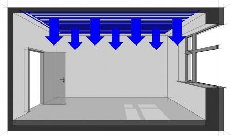 szigetelés: Ábra egy szoba hűtött mennyezeti hűtés Illusztráció