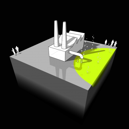 Industrial buildingfactory polluting air and water from its smokestacks and sewers Ilustracja