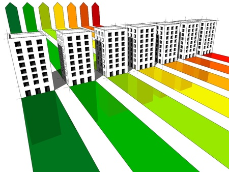 heating: seven apartment housesoffice buildings certified in seven energetic classes Illustration