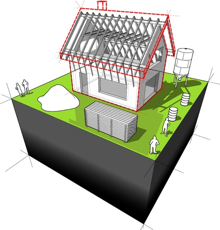 House under construction: simple detached house with wooden roof framework  Vector