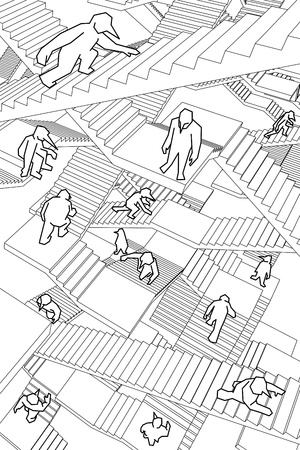 chaos: lost and confused people running upwards and downwards a labyrinth of stairs