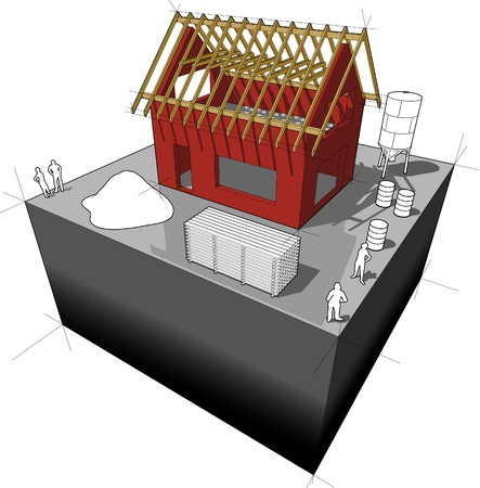 rafter: House under construction  simple detached house with wooden roof framework  Illustration
