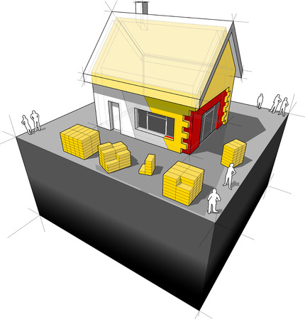 diagram of a detached house with additional wall and roof insulation Vector