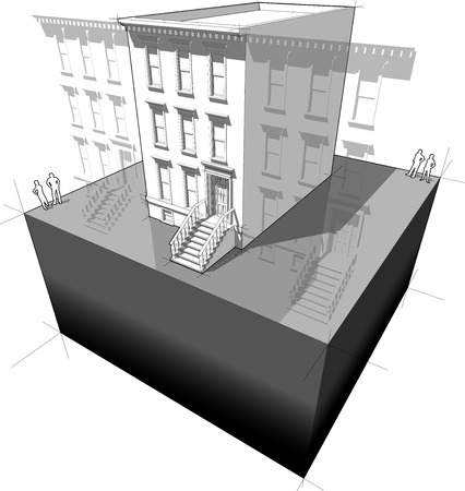 "brownstone: diagram of a typical american townhouse  aka ""brownstone""  with neighbor buildings"
