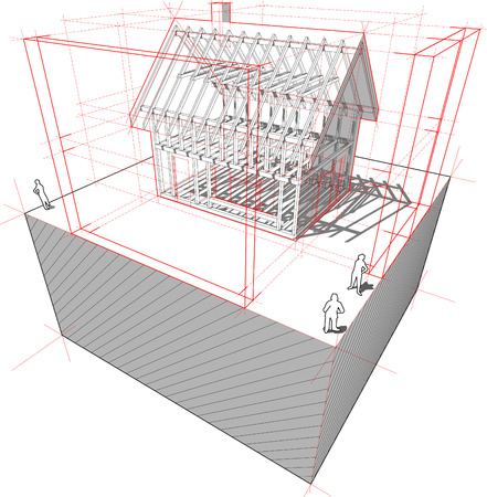 diagram of a framework construction of a detached house with 3D dimensions Vector