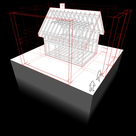 dimensions: diagram of a framework construction of a detached house with 3D dimensions