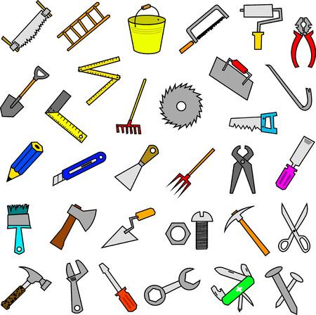pickaxe: set of construction tools design elements