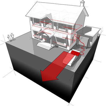 detached: ELECTROCAR impulsado por diagrama de vivienda unifamiliar