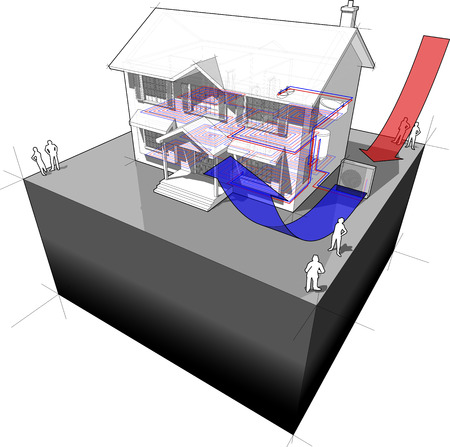 model home: diagram of a classic colonial house with air-source heat pump as source of energy for heating + floor heating Illustration