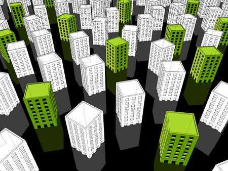 monotony: green ?ecological? apartment housesoffice buildings standing out from others Illustration