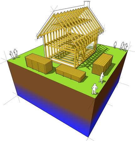 Construction of simple detached house with wooden framework construction Vector