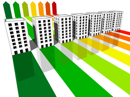 seven apartment houses/office buildings certified in seven energetic classes  イラスト・ベクター素材