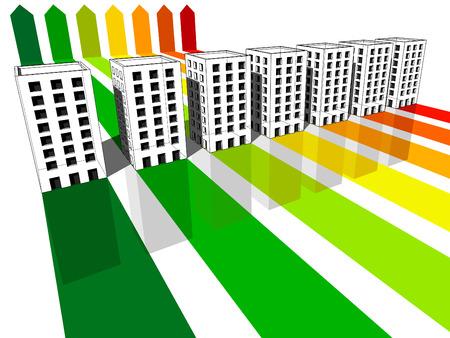 zeven appartement huizen  kantoren gecertificeerd in zeven energieke klassen Stock Illustratie