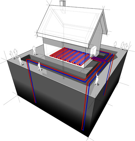 groundwater: heat pumpunderfloorheating diagram