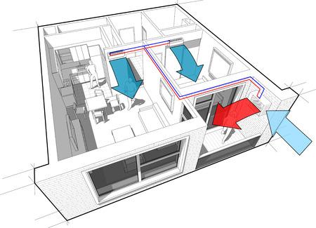 Apartamento con pared interior diagrama de aire acondicionado