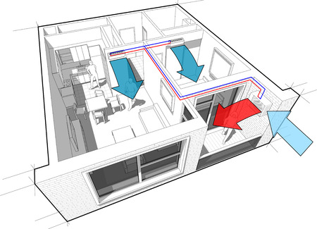 residential home: Apartment with indoor wall air conditioning diagram